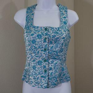 turquoise blue silver vest floral button down